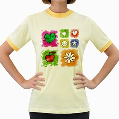 A Set Of Watercolour Icons Women s Fitted Ringer T-Shirts