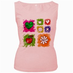 A Set Of Watercolour Icons Women s Pink Tank Top
