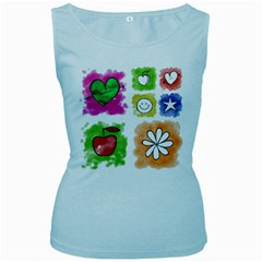 A Set Of Watercolour Icons Women s Baby Blue Tank Top