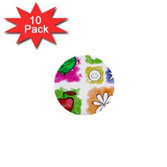 A Set Of Watercolour Icons 1  Mini Buttons (10 pack)