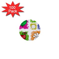 A Set Of Watercolour Icons 1  Mini Buttons (100 pack)