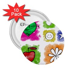A Set Of Watercolour Icons 2.25  Buttons (10 pack)