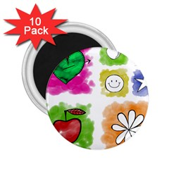 A Set Of Watercolour Icons 2.25  Magnets (10 pack)