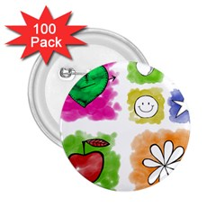 A Set Of Watercolour Icons 2.25  Buttons (100 pack)
