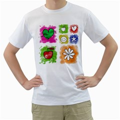 A Set Of Watercolour Icons Men s T-Shirt (White) (Two Sided)