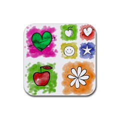 A Set Of Watercolour Icons Rubber Square Coaster (4 pack)