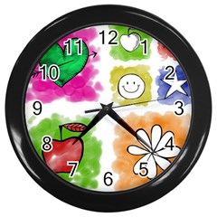 A Set Of Watercolour Icons Wall Clocks (Black)