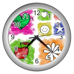 A Set Of Watercolour Icons Wall Clocks (Silver)