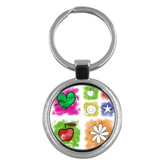 A Set Of Watercolour Icons Key Chains (Round)