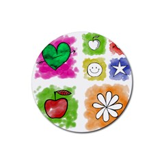 A Set Of Watercolour Icons Rubber Coaster (Round)