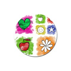 A Set Of Watercolour Icons Magnet 3  (Round)