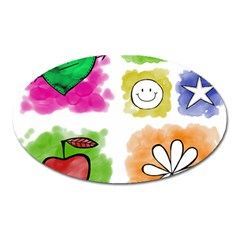 A Set Of Watercolour Icons Oval Magnet