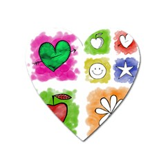 A Set Of Watercolour Icons Heart Magnet