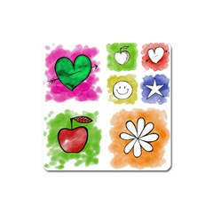 A Set Of Watercolour Icons Square Magnet