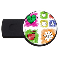 A Set Of Watercolour Icons USB Flash Drive Round (2 GB)