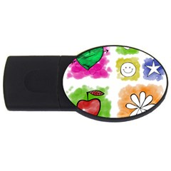 A Set Of Watercolour Icons USB Flash Drive Oval (2 GB)