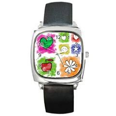 A Set Of Watercolour Icons Square Metal Watch
