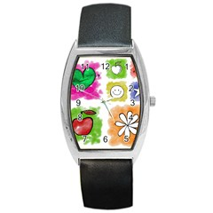 A Set Of Watercolour Icons Barrel Style Metal Watch