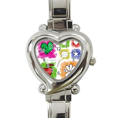 A Set Of Watercolour Icons Heart Italian Charm Watch