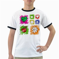 A Set Of Watercolour Icons Ringer T-Shirts