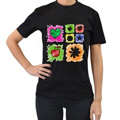 A Set Of Watercolour Icons Women s T-Shirt (Black) (Two Sided)