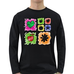 A Set Of Watercolour Icons Long Sleeve Dark T-Shirts
