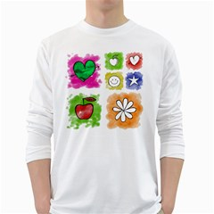 A Set Of Watercolour Icons White Long Sleeve T-Shirts