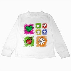 A Set Of Watercolour Icons Kids Long Sleeve T-Shirts