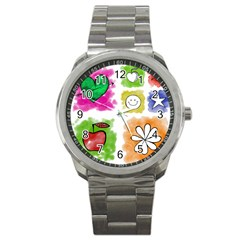A Set Of Watercolour Icons Sport Metal Watch