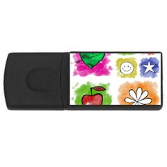 A Set Of Watercolour Icons USB Flash Drive Rectangular (4 GB)