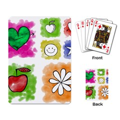 A Set Of Watercolour Icons Playing Card