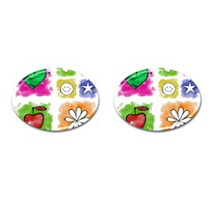 A Set Of Watercolour Icons Cufflinks (Oval)