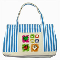 A Set Of Watercolour Icons Striped Blue Tote Bag