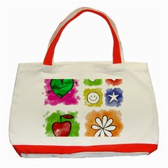 A Set Of Watercolour Icons Classic Tote Bag (Red)