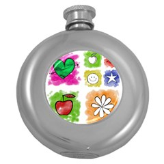 A Set Of Watercolour Icons Round Hip Flask (5 oz)