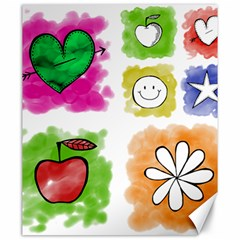 A Set Of Watercolour Icons Canvas 20  x 24
