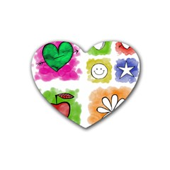 A Set Of Watercolour Icons Rubber Coaster (Heart)
