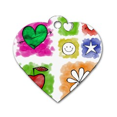 A Set Of Watercolour Icons Dog Tag Heart (One Side)
