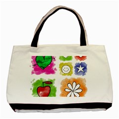 A Set Of Watercolour Icons Basic Tote Bag (Two Sides)