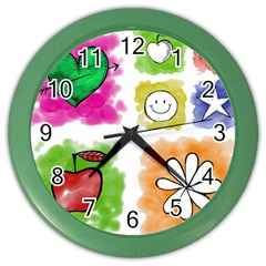 A Set Of Watercolour Icons Color Wall Clocks