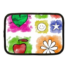 A Set Of Watercolour Icons Netbook Case (Medium)