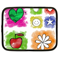 A Set Of Watercolour Icons Netbook Case (Large)