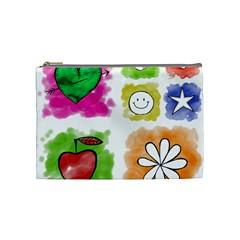 A Set Of Watercolour Icons Cosmetic Bag (Medium)