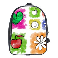 A Set Of Watercolour Icons School Bags(Large)