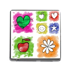 A Set Of Watercolour Icons Memory Card Reader (Square)