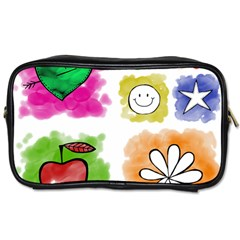 A Set Of Watercolour Icons Toiletries Bags 2-Side