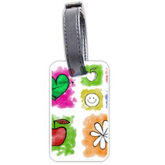 A Set Of Watercolour Icons Luggage Tags (One Side)