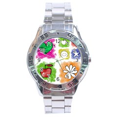 A Set Of Watercolour Icons Stainless Steel Analogue Watch