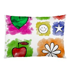 A Set Of Watercolour Icons Pillow Case (Two Sides)
