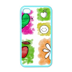 A Set Of Watercolour Icons Apple iPhone 4 Case (Color)